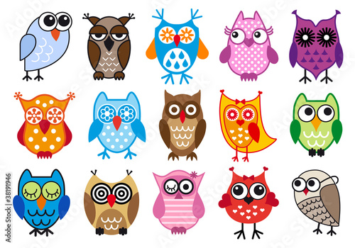 In de dag Uilen cartoon colorful vector owls