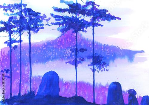 Photo sur Toile Bleu fonce paysage