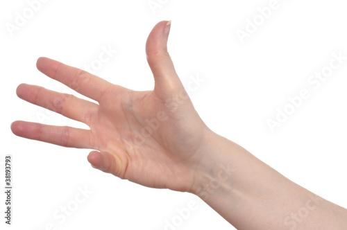 Fotografie, Obraz  Hand mit vier Finger