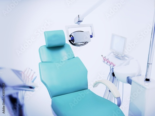 Photo  horror studio sedia poltrona dentista illustrazione 3d