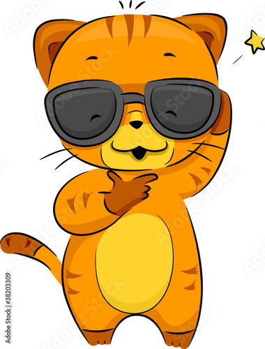 Deurstickers Katten Cool Cat