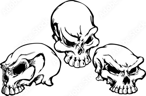Cuadros en Lienzo Skulls Group with Graphic Vector Images