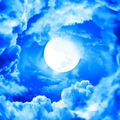 Panel Szklany Niebo moon in blue sky