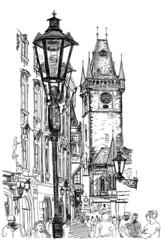 FototapetaPrague, Czech Republic - a vector sketch