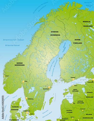 Fotografering Skandinavien als Übersichtskarte