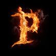 """Fire alphabet letter """"P"""""""