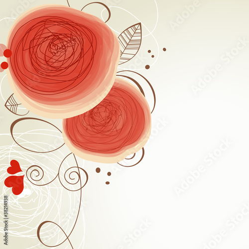 Deurstickers Abstract bloemen Vector floral ornament