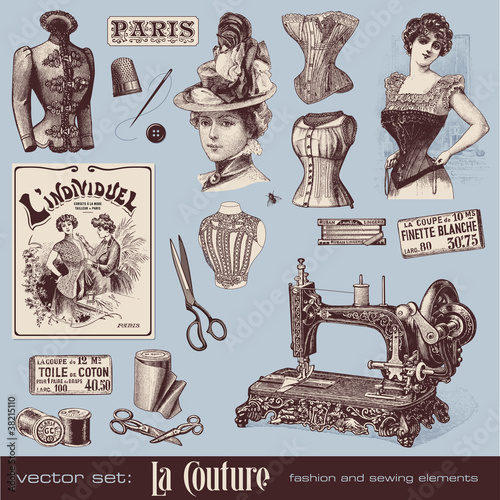 Poster  vector set: fashion and sewing (1900)
