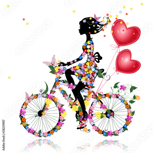 Poster Bloemen vrouw Flower girl bike with air valentines