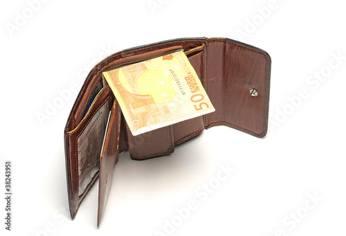 Fotografering  Wallet with euro banknote