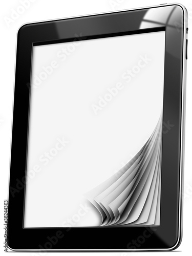 Fotografía  Black tablet computer with blank pages on white background