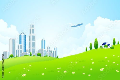 Poster Vliegtuigen, ballon Green landscape with city