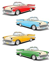 Set Of Four Classic Car Illustration