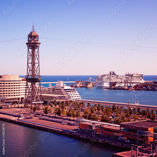Luxury Cruise Ships at Barcelona Cruise Port. Wallpaper Mural