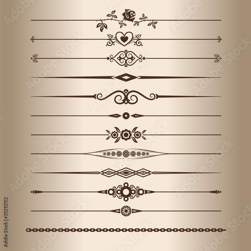 Photo  Elements for a vintage design - decorative line dividers