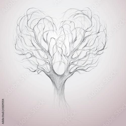 Fototapeta Tree crown like heart / Vector surreal sketch obraz na płótnie