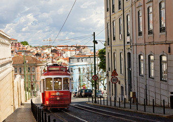 Fototapeta na wymiar historic classic red tram of Lisbon
