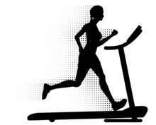 Woman Running On A Treadmill W...