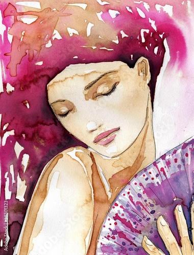 Aluminium Prints Painterly Inspiration piękna dziewczyna z wachlarzem