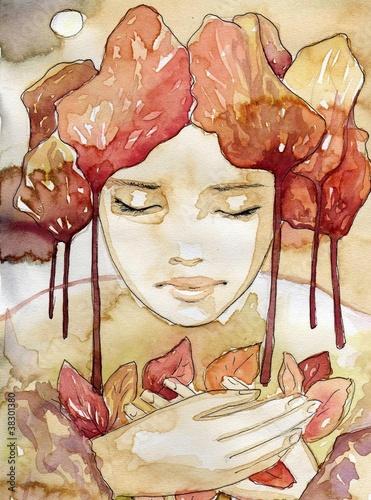 Photo sur Toile Inspiration painterly abstrakcyjny portret pieknej kobiety