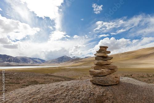 Leinwand Poster Tibetan cairn
