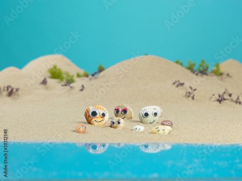 Spoed Foto op Canvas Turkoois funny sea shells in a miniature landscape
