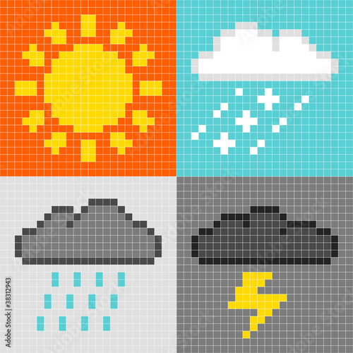 Foto op Aluminium Pixel Pixel Weather Symbols