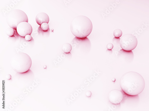 Fototapety, obrazy: Abstract spheres of pink color
