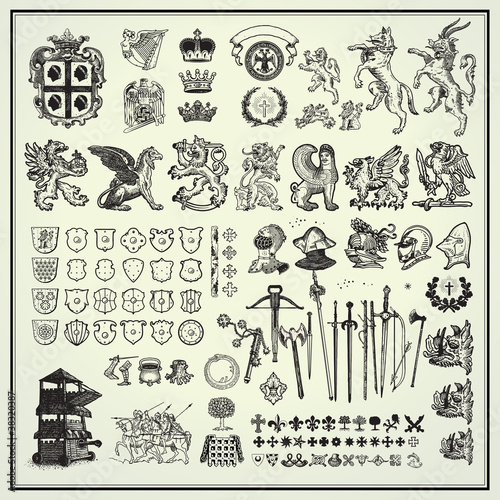 Photo  heraldry elements collection