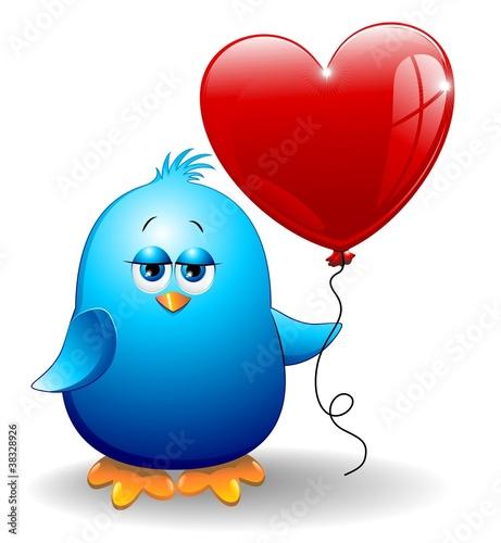 Photo sur Aluminium Draw Ucellino Con Cuore Palloncino-Bird with Heart Balloon-Vector