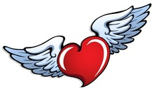 Stylized Heart With Wings 1