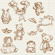 Hand Drawn Toys Collection In ...