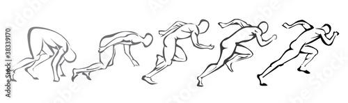 Fotomural sprint concept. set of symbols running man