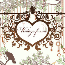 Vintage Background With Wrought Heart Frame And Antique Keys