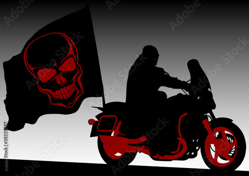 Poster Motocyclette Black flag