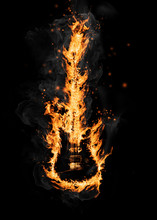 Fire Guitar, Isolated On White...