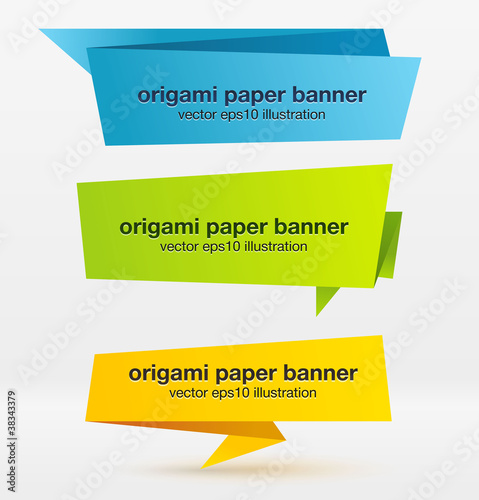 Vector set of origami paper banners. Poster