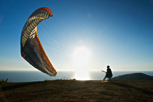 Paraglider Preps To Launch