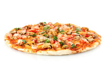 Delicious Pizza With Seafood  Isolated On White