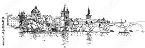Photo  Panorama of Prague. View of Charles Bridge and the Vltava river