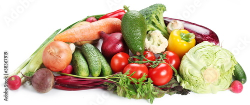 Poster Verse groenten Vegetables on a white