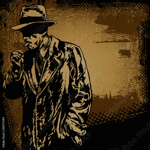 Photo  man in hat and retro scratch background