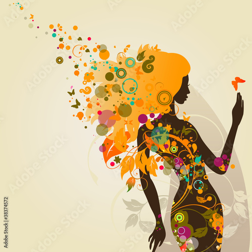 Fototapety, obrazy: decorative composition with girl