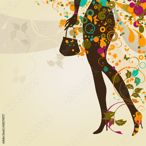 Poster Bloemen vrouw decorative composition with girl`s legs and bag