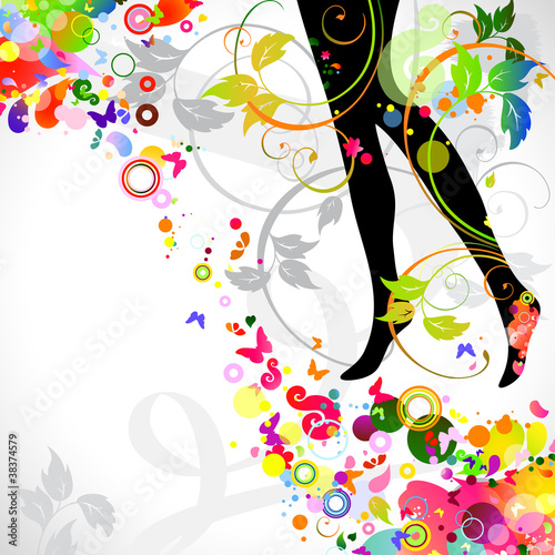 Foto op Canvas Bloemen vrouw decorative composition with girl`s legs