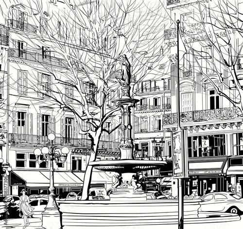 Photo sur Toile Drawn Street cafe Paris - Palais Royal