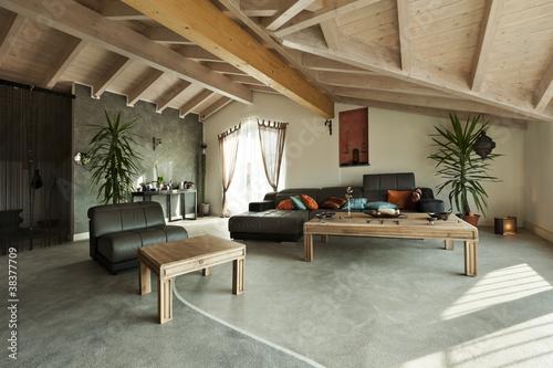 Fotografie, Obraz interior new loft, ethnic furniture, living room