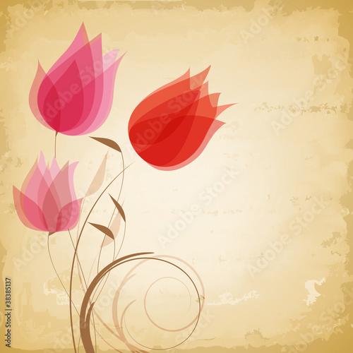 Fototapeta na wymiar Vintage vector flowers