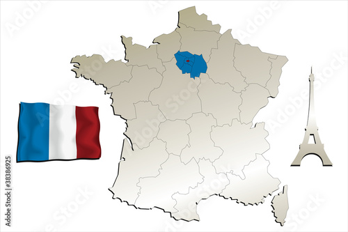 Map Of France Eiffel Tower.Map Of France With Flag And Eiffel Tower Buy This Stock Vector And