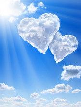 Hearts In Clouds Against A Blue Clean Sky